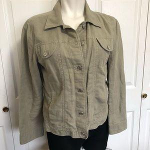 J.jill linen blend olive green utility jacket sz.L
